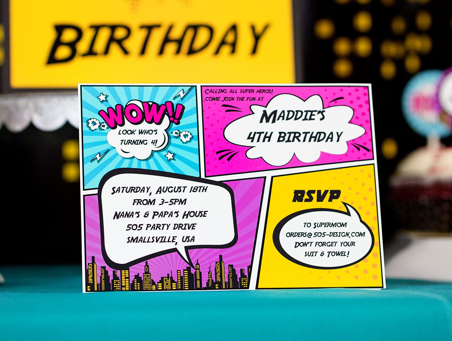 Girls Superhero Party Invitation