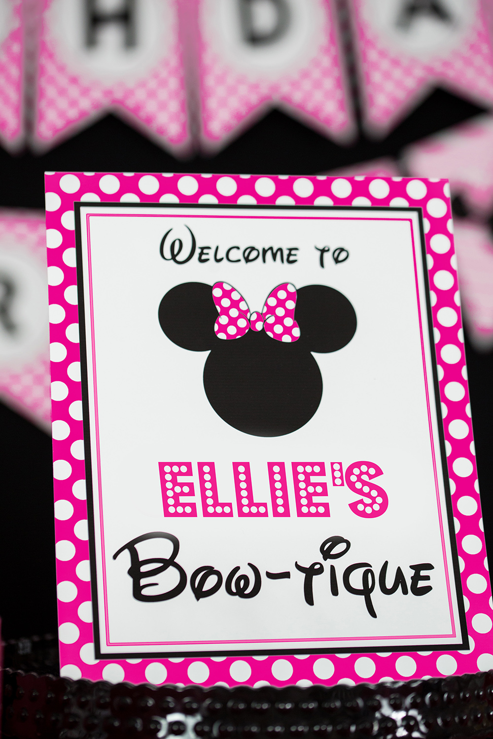 Hot Pink Minnie Mouse Party Signs