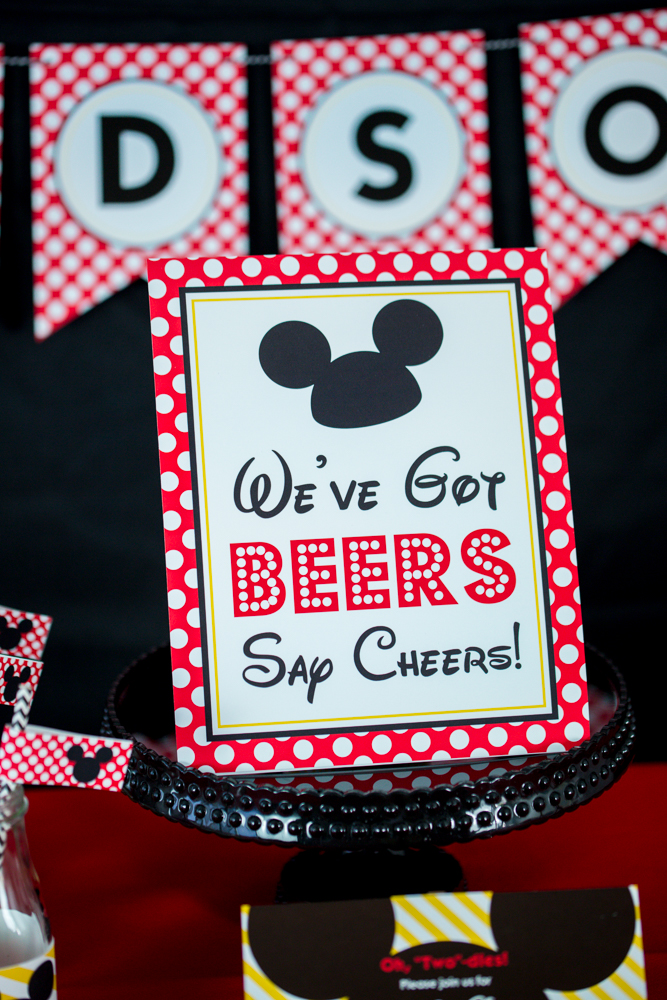 picture regarding Free Printable Mickey Mouse Signs identify Mickey Mouse Social gathering Indicator - Weve Acquired Beers Say Cheers