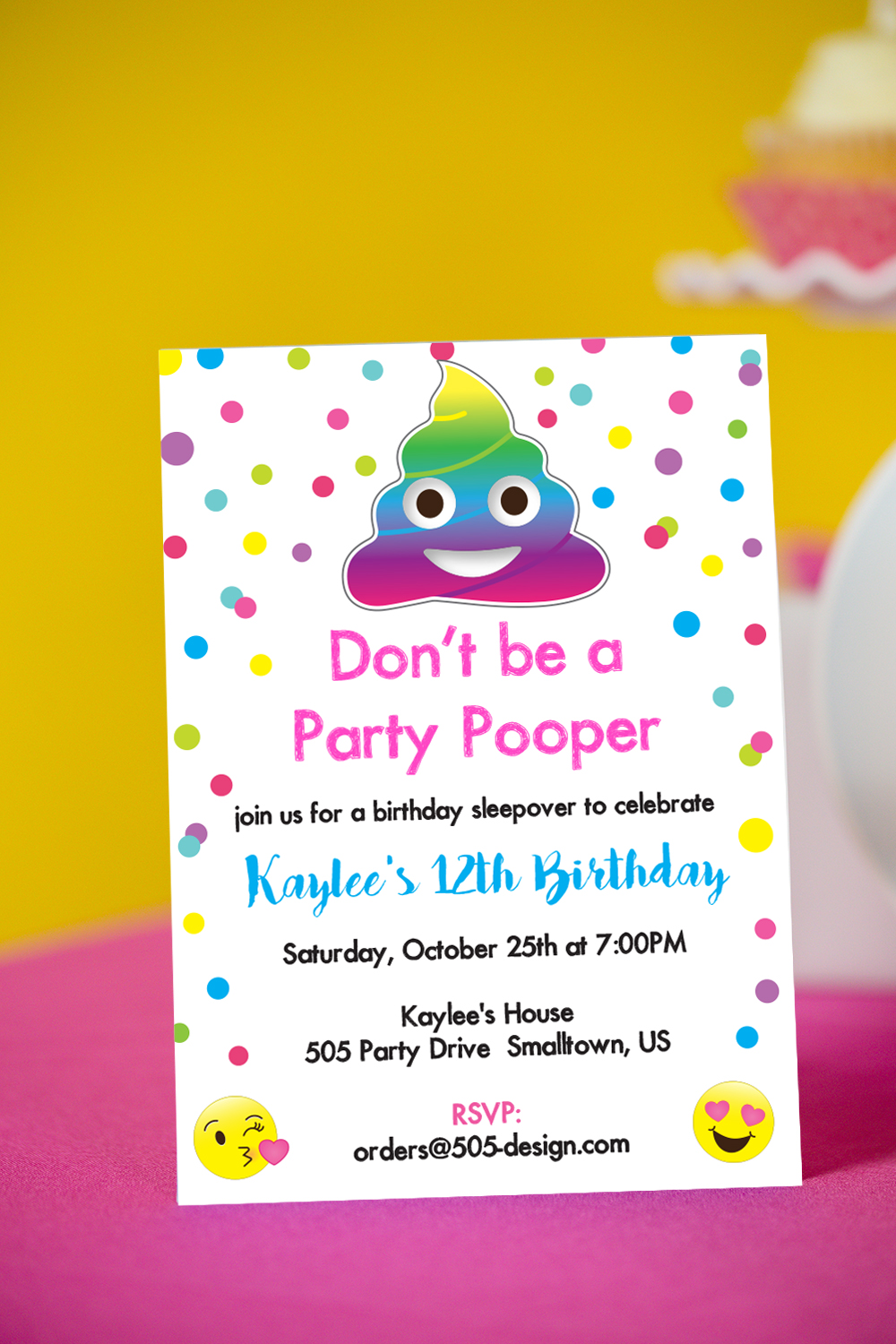 Party Pooper Invitation with Rainbow Poop Emoji