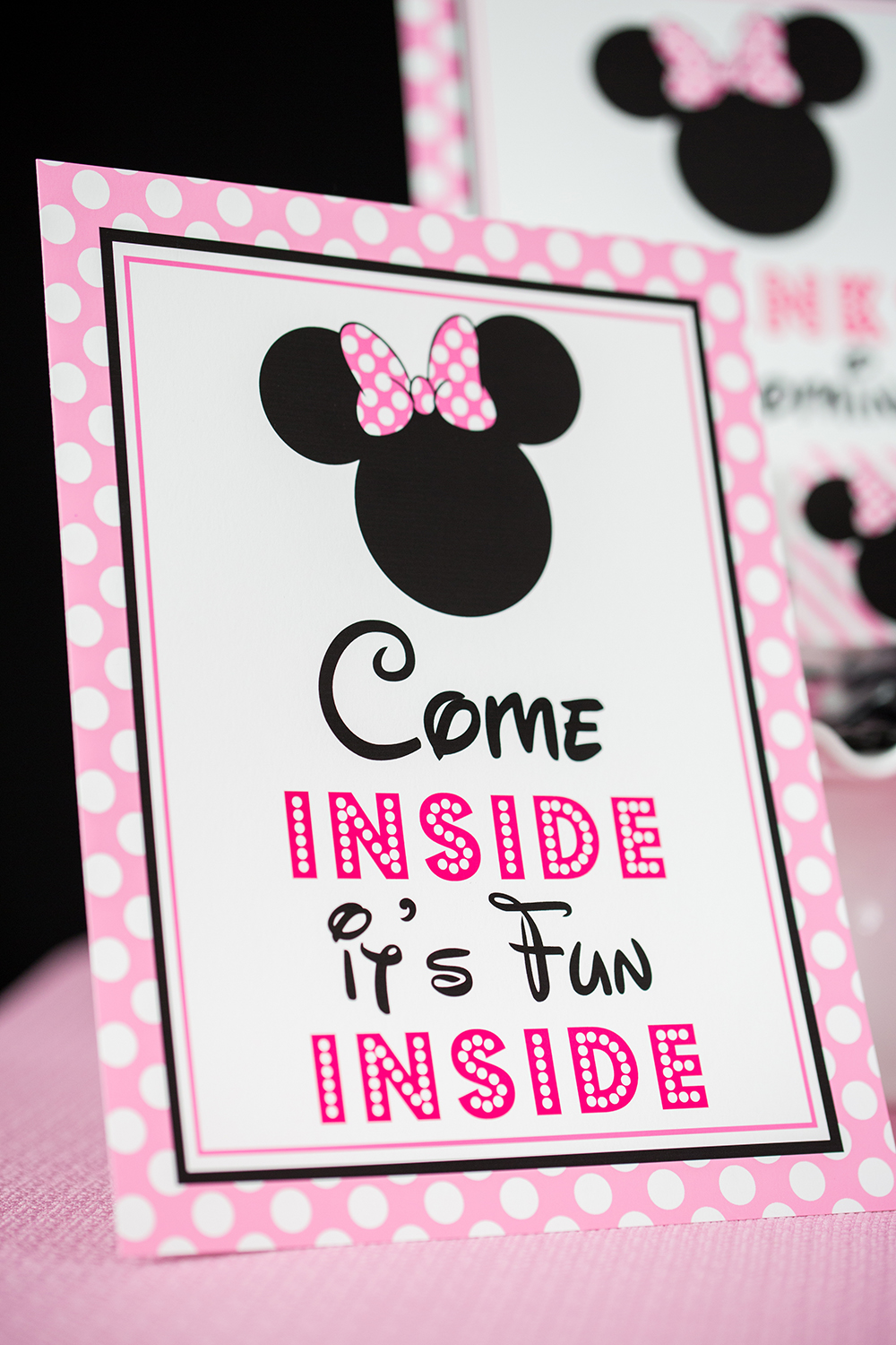 Pink Minnie Mouse Come Inside It S Fun Inside Sign