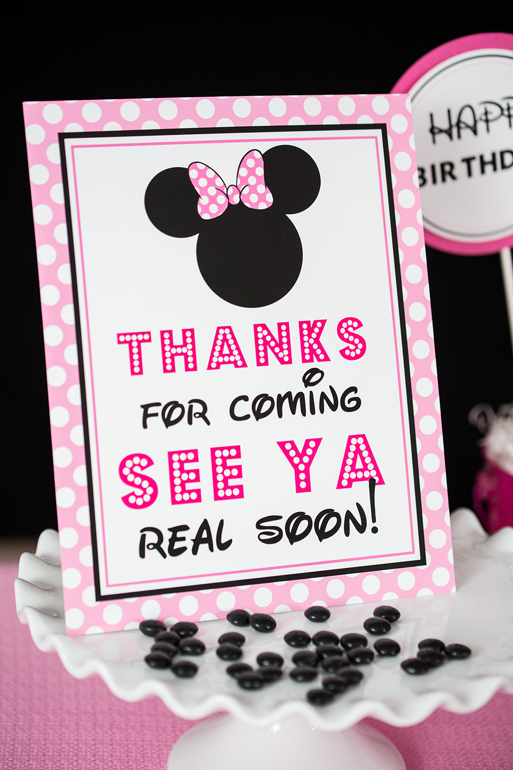 Pink Minnie Mouse Thanks For Coming See Ya Real Soon Sign