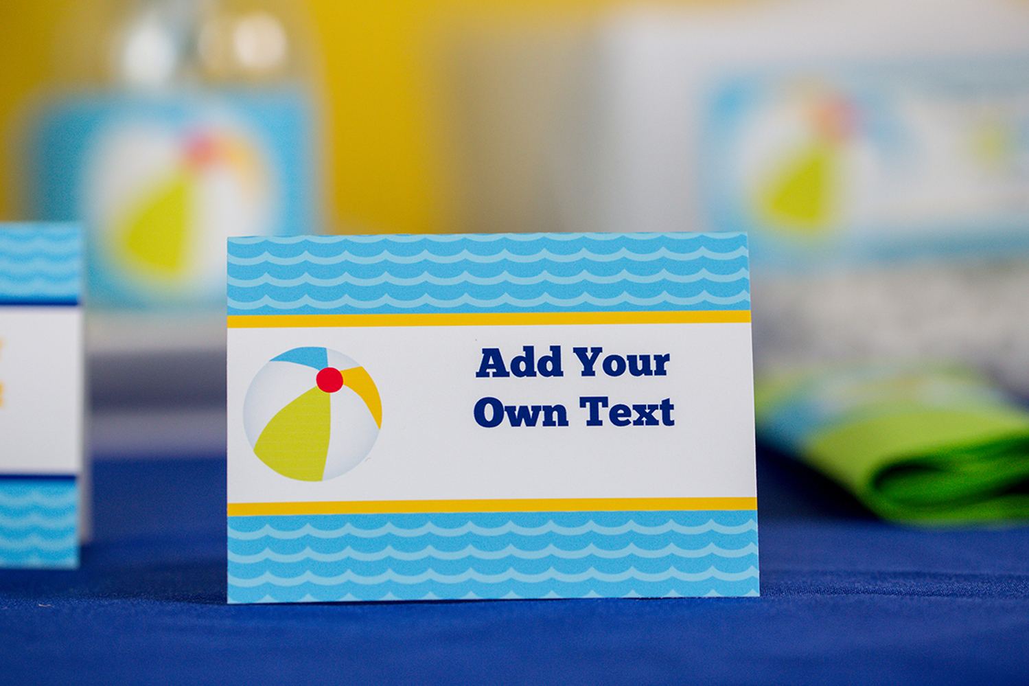 Pool Party Decorations And Invitation Set In Blue