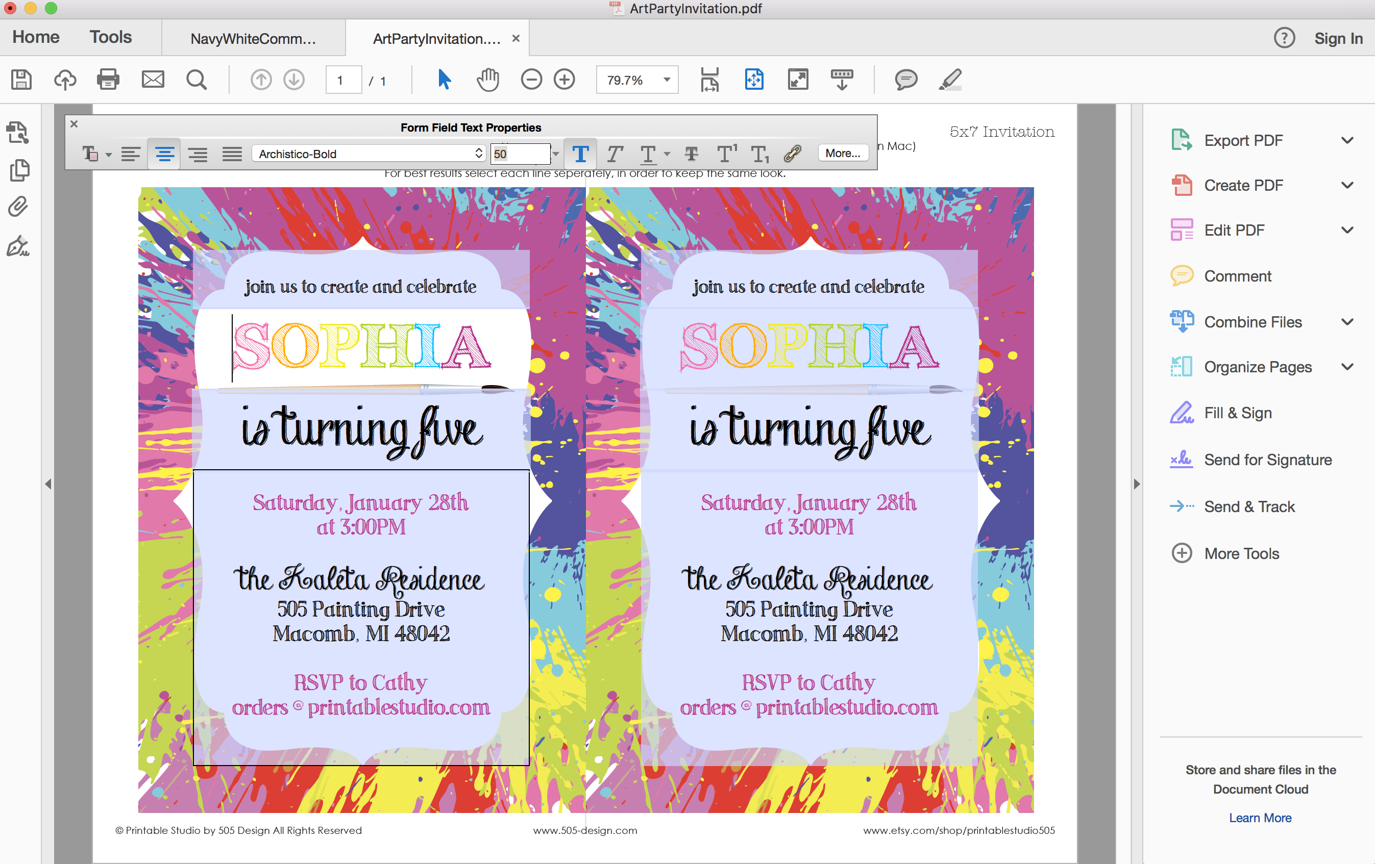 art party invitation painting party invitation printable studio