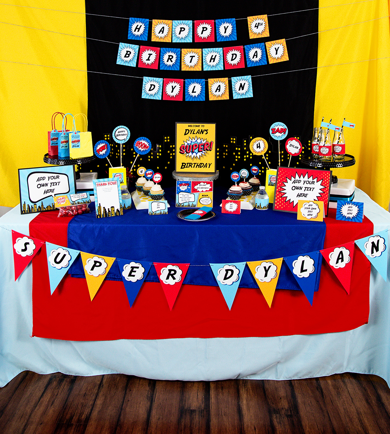 Free Comic Book Day Banner: Superhero Party Decorations And Invitation Set