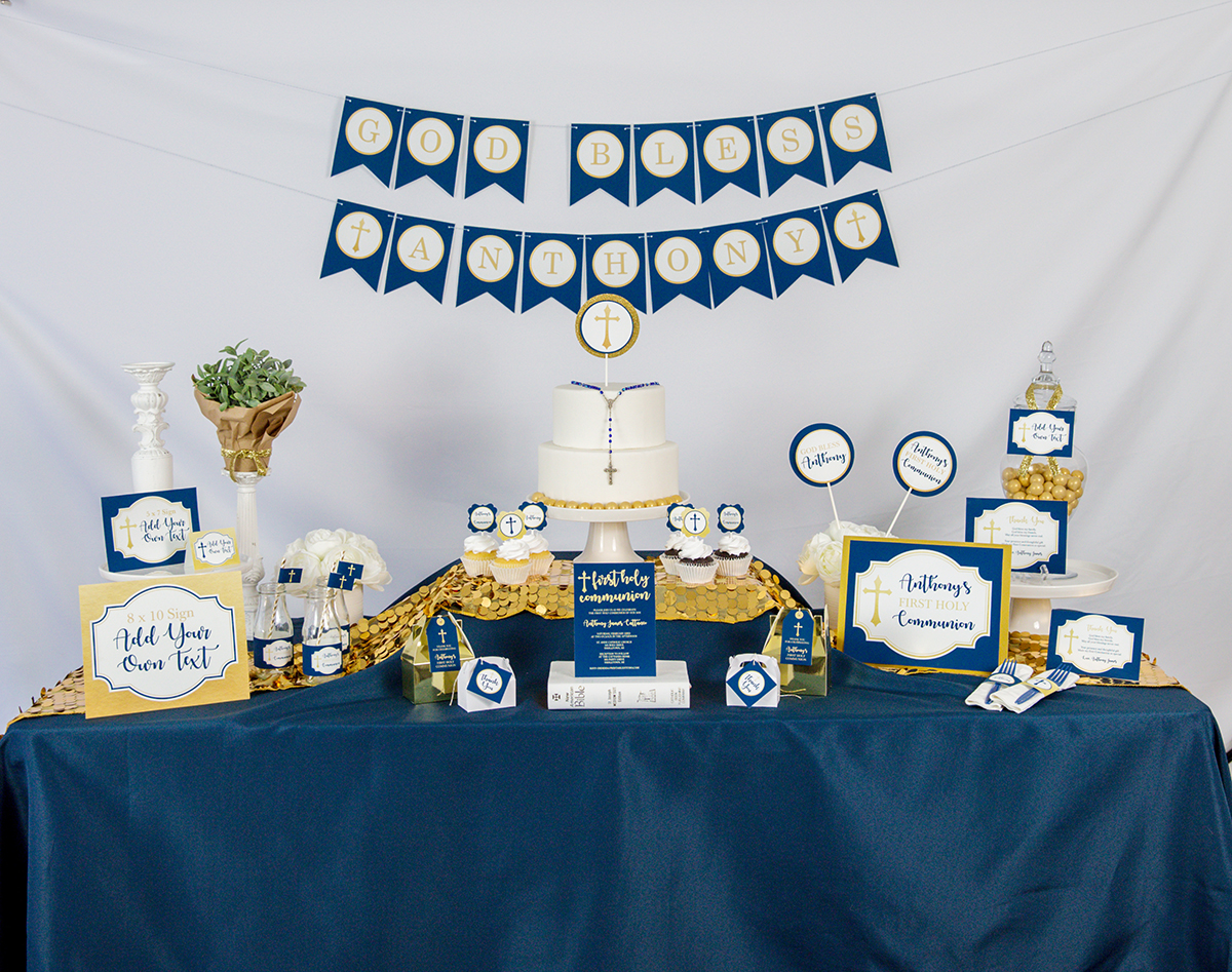 Navy And Gold Communion Decorations With Matching Invitation Set