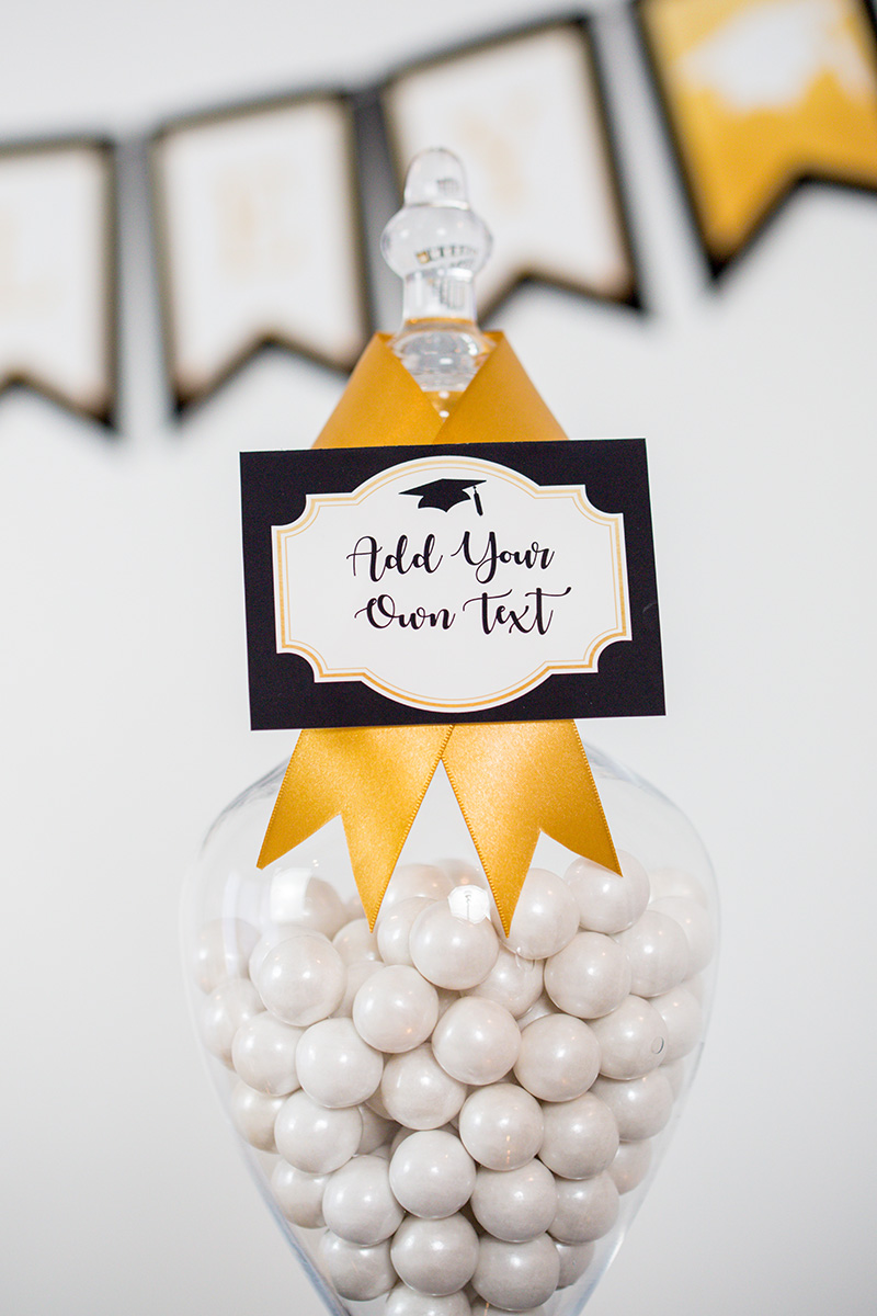 Printable Graduation Party Food Labels in Black and Gold