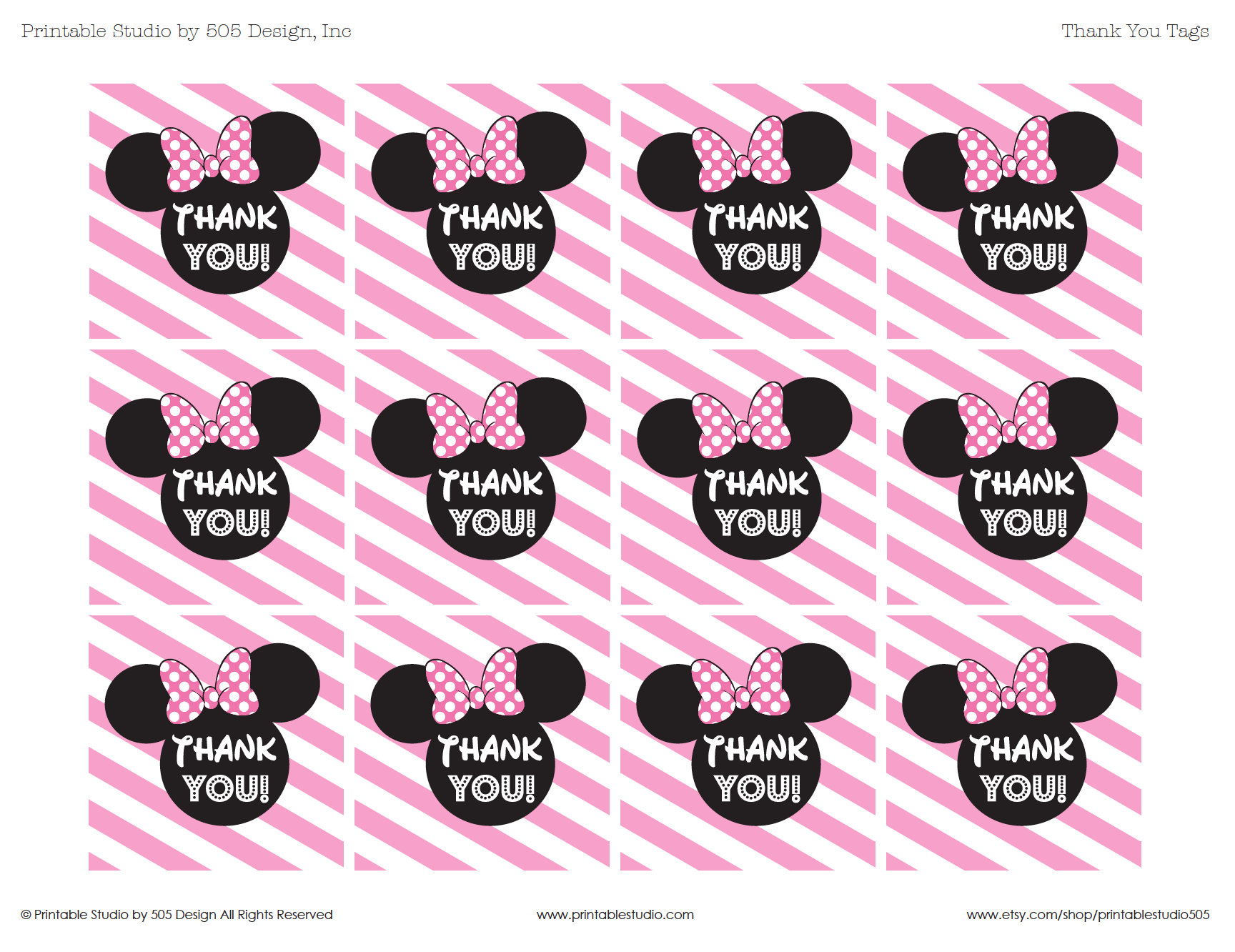 Minnie Mouse Thank You Tags